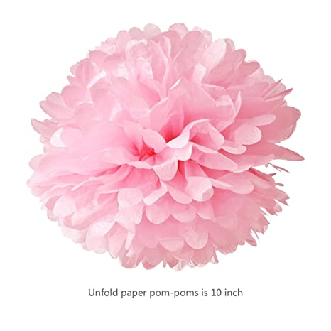 Amazon hmxpls 10pcs tissue hanging paper pom poms flower ball amazon hmxpls 10pcs tissue hanging paper pom poms flower ball wedding party outdoor decoration premium tissue paper pom pom flowers craft kitpink mightylinksfo