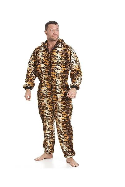 Pijama polar de una pieza de hombre - Estilo tigre marrón/dorado - Talla S a 5XL: Amazon.es: Ropa y accesorios