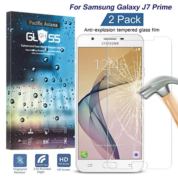 [2 Pack] Galaxy J7 Prime/On 7 2016 Screen Protector, Pacific Asiana 9H  Hardness HD Clear Anti-Fingerprint Anti-Scratch Tempered Glass Screen  Protector