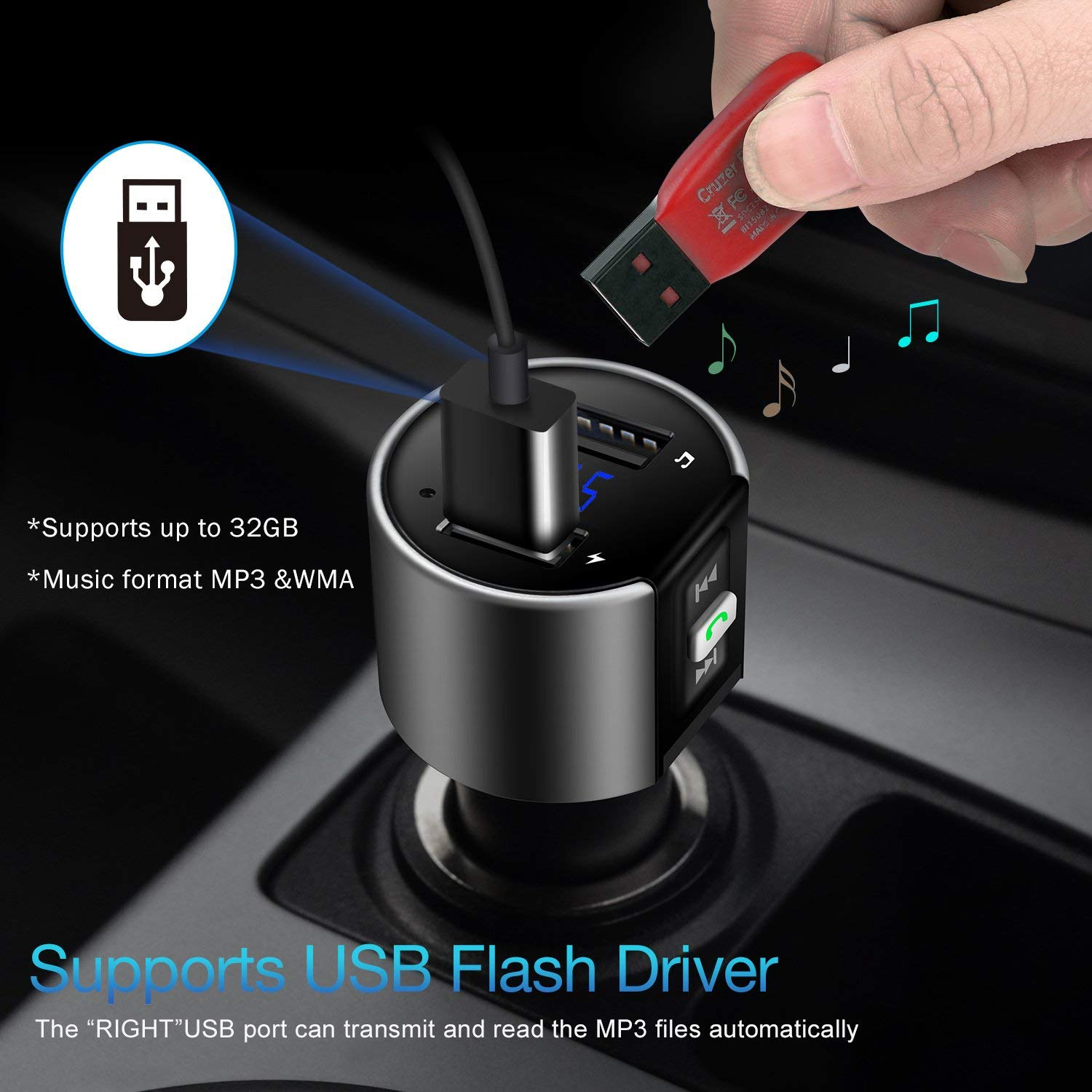 Sliver 01 Bluetooth FM Transmitter Radio for Car ESOLOM In Car Bluetooth Adapter Radio Transmitter Receiver MP3 Player Hands Free Calling for Car Audio Stereo System w\ USB Car Charger /& Voltage Detection