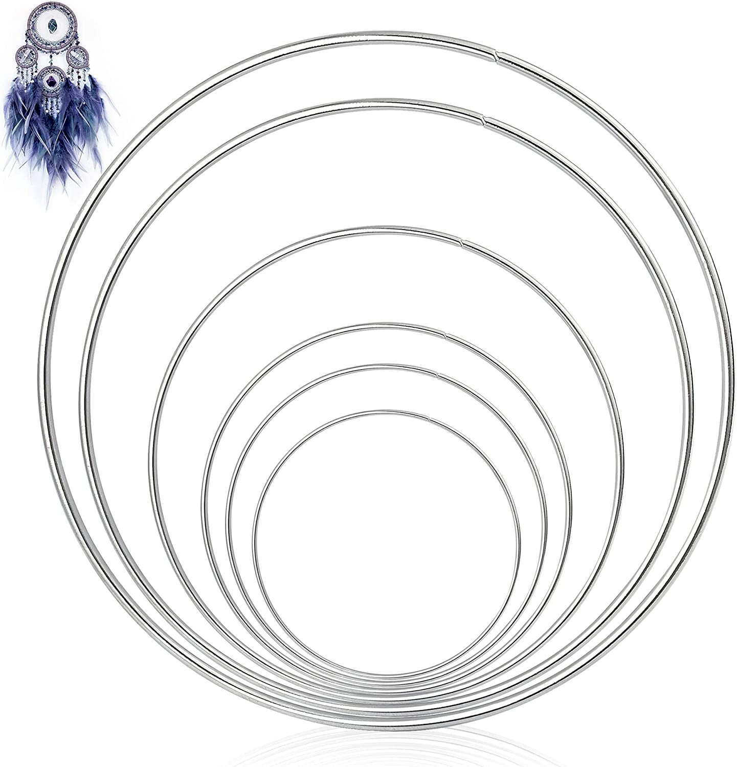 Worldity 24 Pieces Metal Rings Hoops for Dream Catcher, Rustproof Smooth Iron Wreath Ring Macrame Hoop for Crafts, Decor, DIY Dream Catcher(Silver)