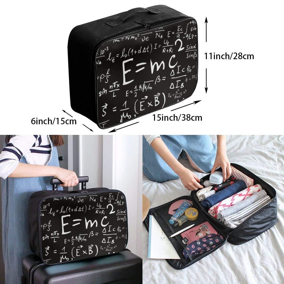 YueLJB Mathematical Formula Lightweight Large Capacity Portable Luggage Bag Travel Duffel Bag Storage Carry Luggage Duffle Tote Bag
