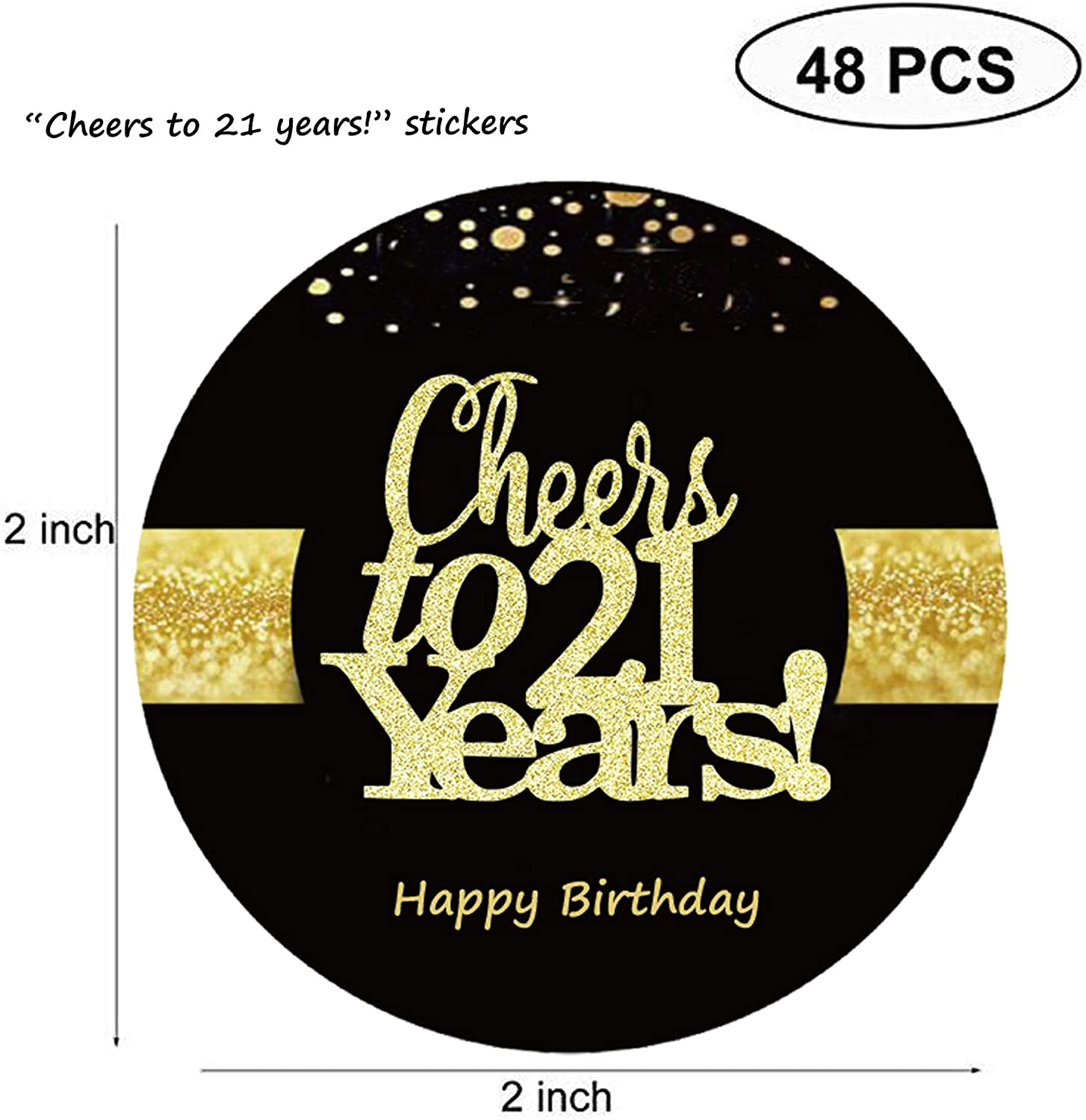 Sumerk 48 PCS Cheers to 21 Years Stickers Large Bottle Stickers 21st Birthday Stickers Card Seals 2 INCHES Round Happy Birthday Party Favors Stickers