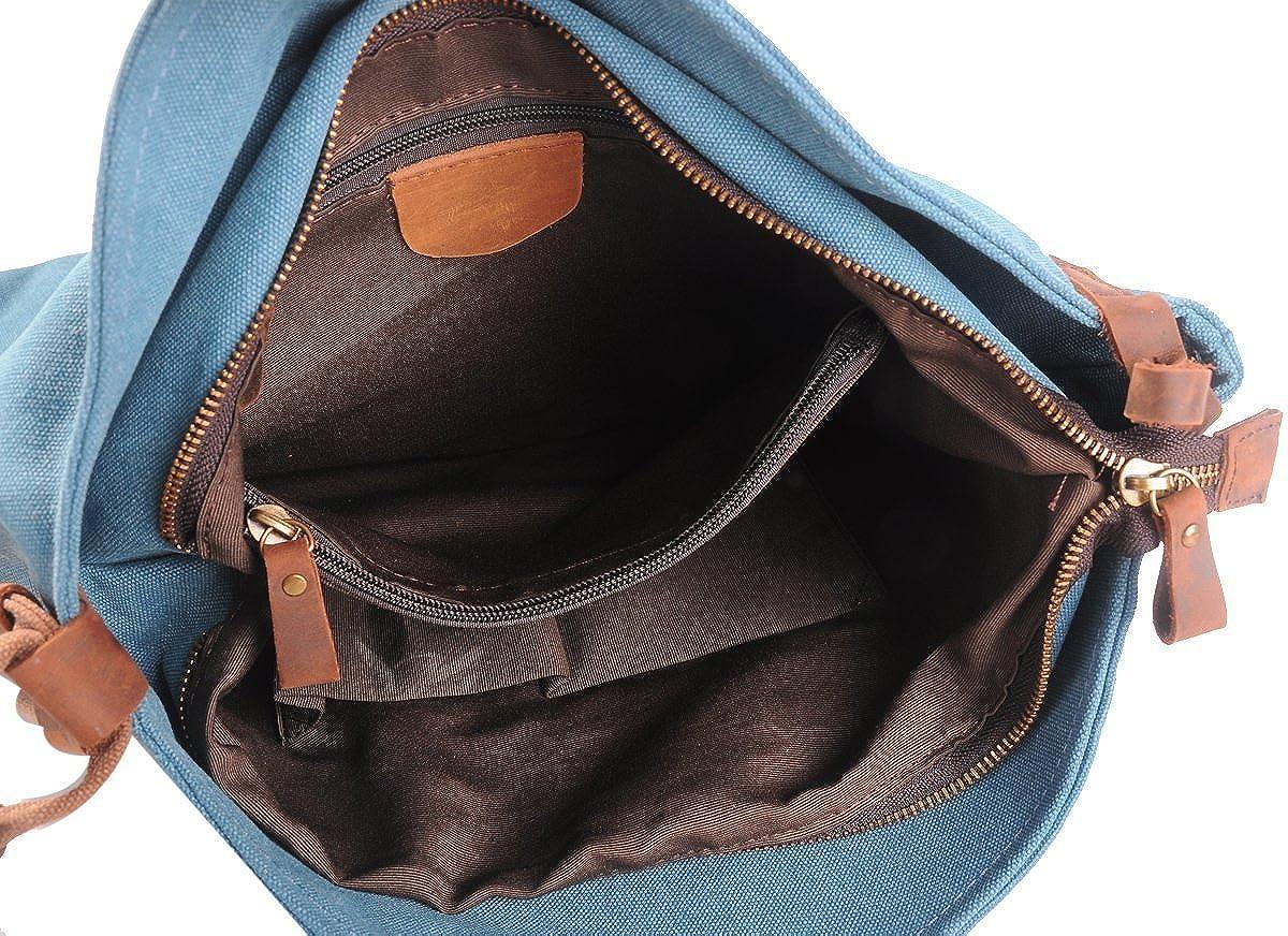 87acd22f02 Minetom Donna Uomo Unisex Vintage Stile Borsa a Tracolla Borsa Tutto in Tela  e Pelle Sacchetti modalità Blu Large: Amazon.it: Abbigliamento