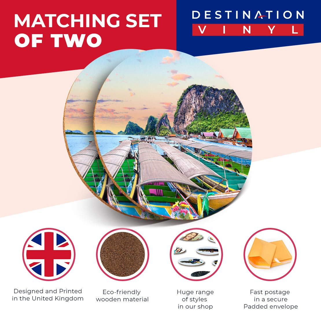 Set di 2 sottobicchieri Rotondi con Destination Vinyl ltd Phuket Island Thailandia Paesaggio Bevande Lucido//Protezione da Tavolo per Qualsiasi Tipo di Tavolo #16436