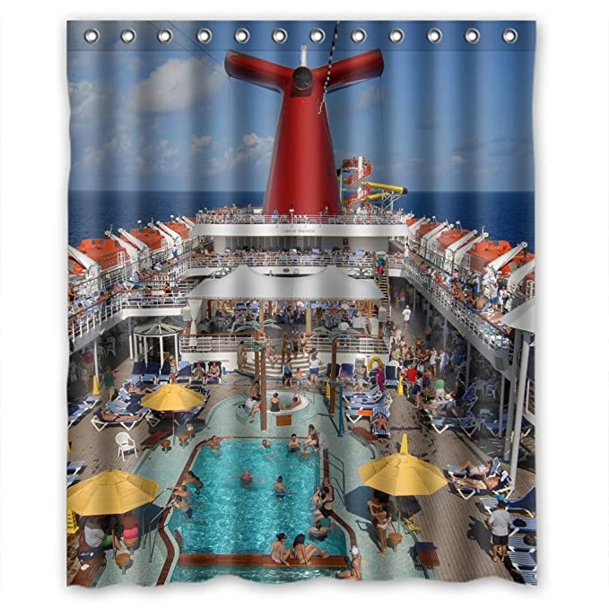 Cruise Ship Busy Swimming Pool Shower Curtain Measure 60quot