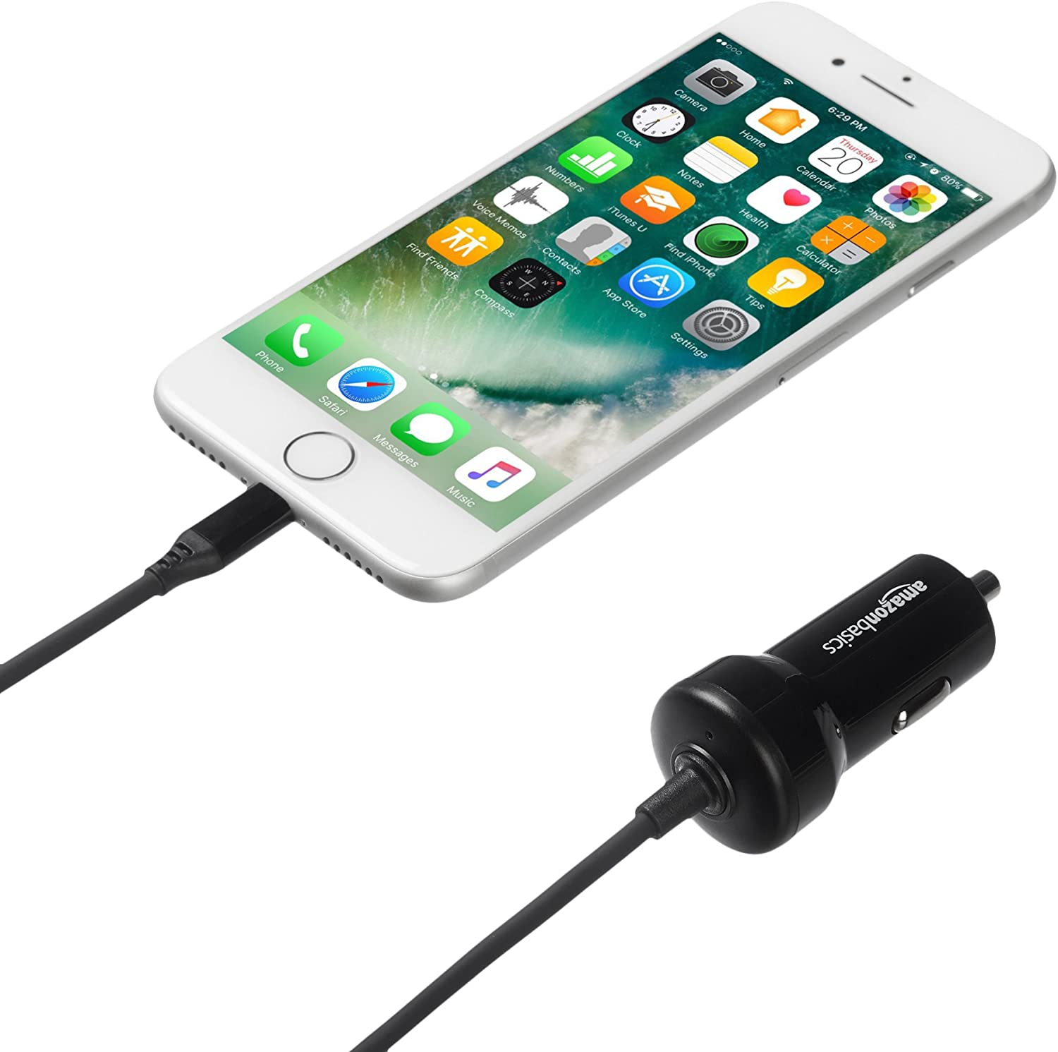 3-Foot Basics Straight Cable Lightning Car Charger 5-Pack 5V 12W Black