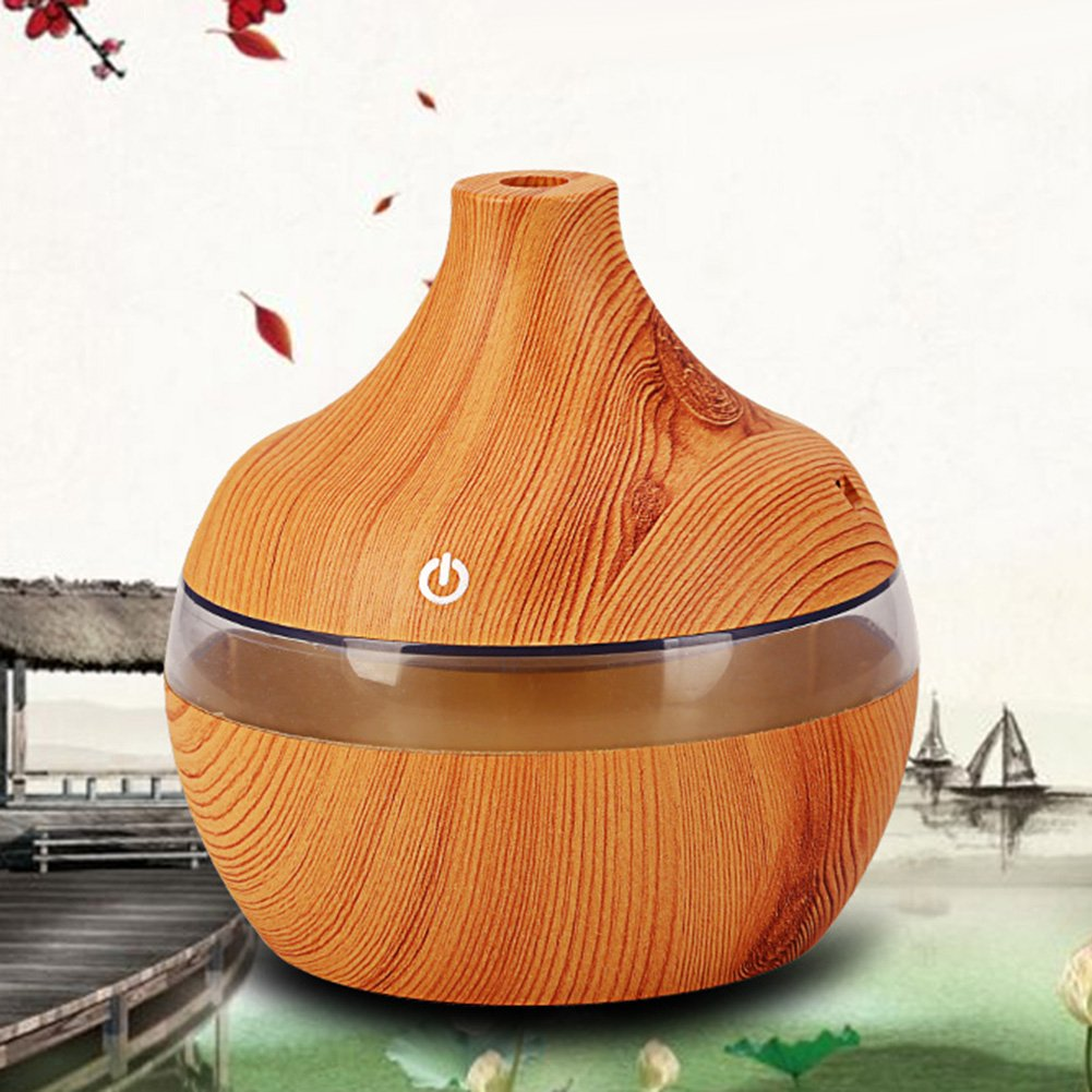 yanQxIzbiu Essential Oil Diffuser Wood Grain USB 300ml Humidifier Aroma Diffuser Mist Maker Colorful LED Light - Wood Grain for Bedroom Living Room Study Yoga Spa by yanQxIzbiu (Image #3)