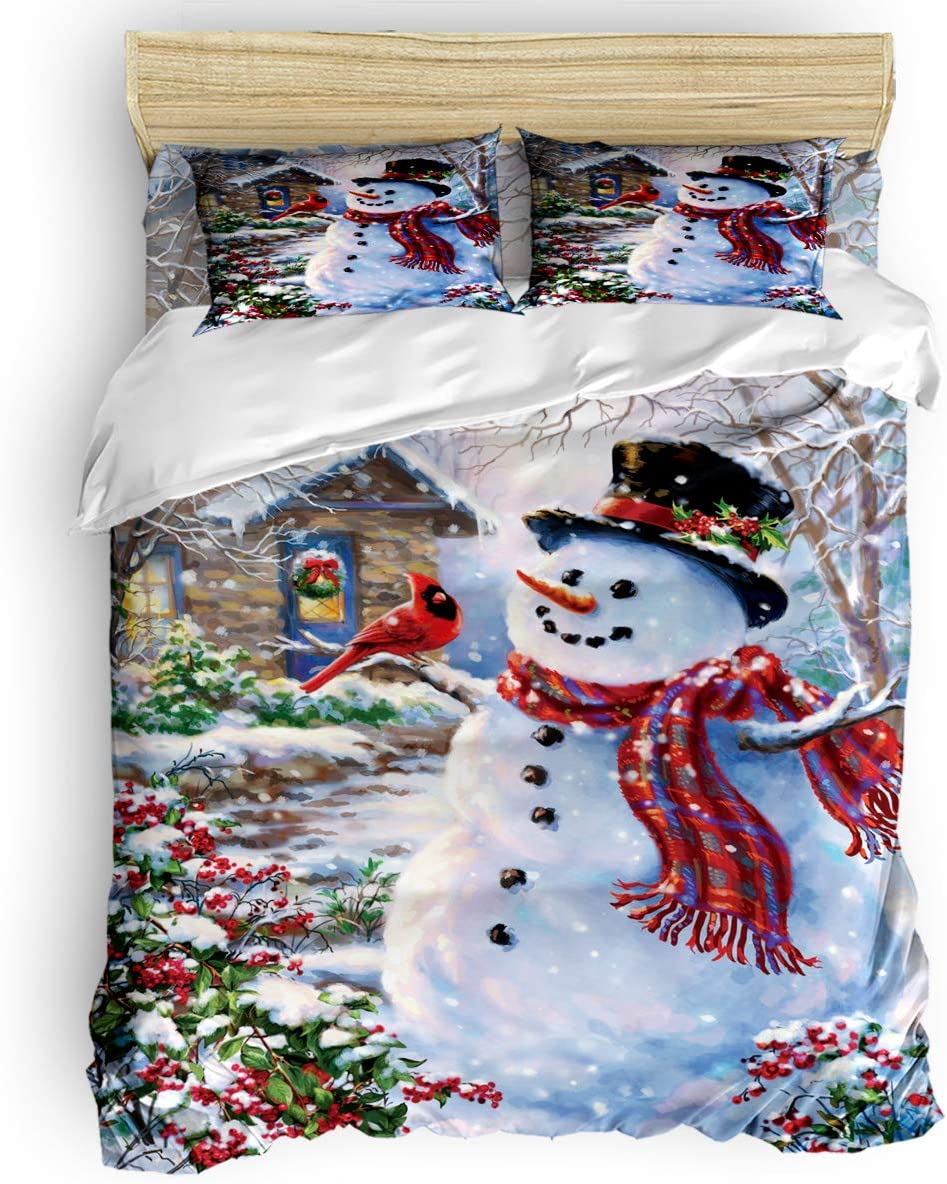Queen Size Bedding Sets - Merry Christmas Happy Snowman and Cardinals Duvet Quilt Cover Set with 2 Decorative Pillowcases for Childrens/Kids/Teens/Adults, 3 Pieces, 50% Cotton+50% Polyester
