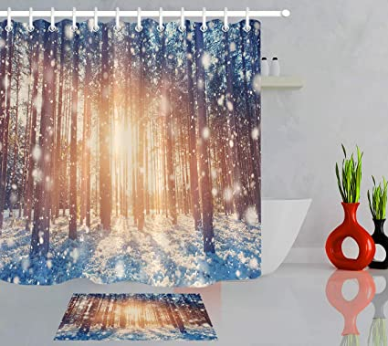 LB Snow Covered Pine Tree Forest Winter Scene Landscape Shower Curtain Bath Rug Set 70x70