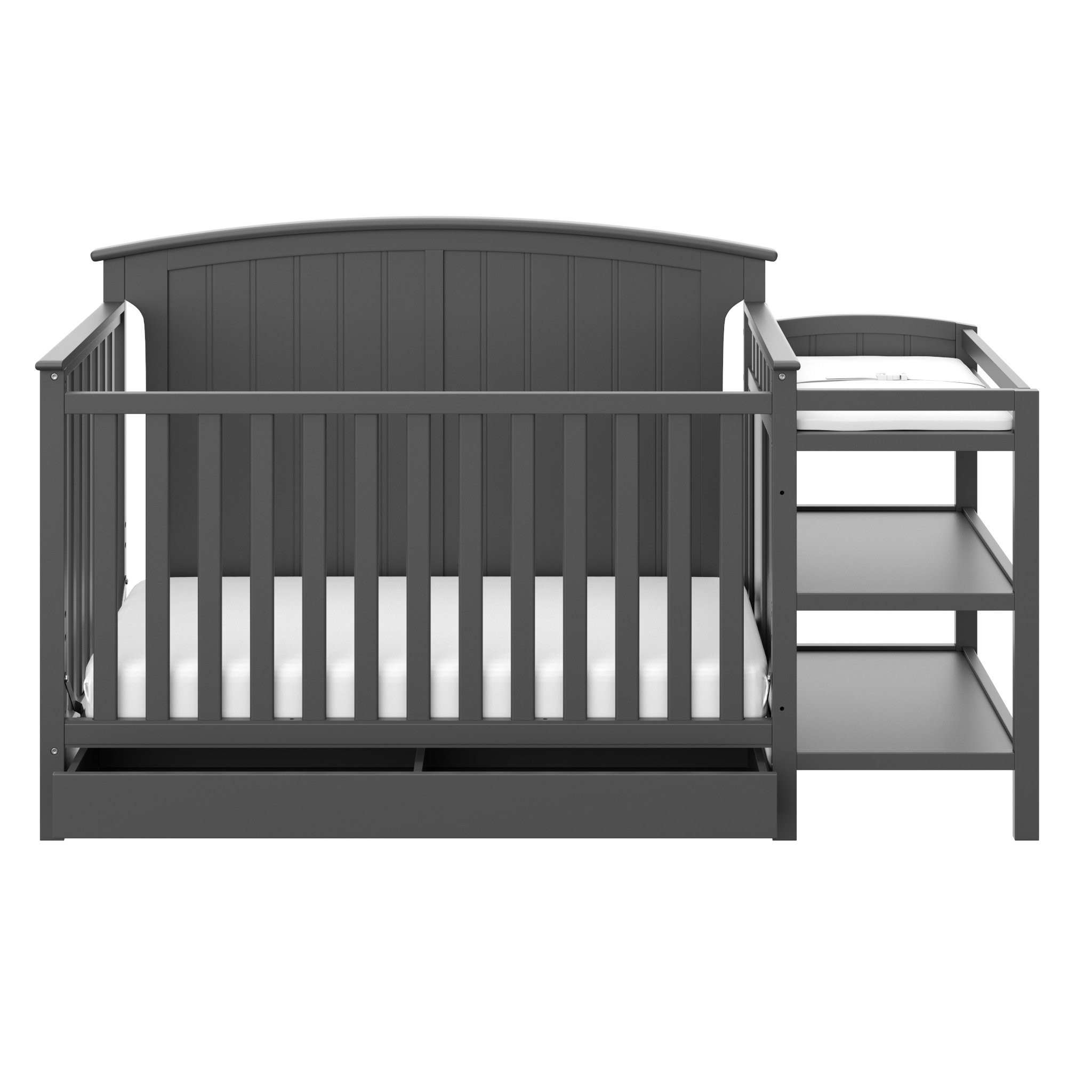 Storkcraft Steveston 4-IN-1 Convertible Crib and Changer with Drawer, Gray