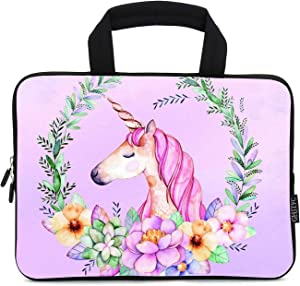 """12 Inch Laptop Sleeve Carrying Bag Protective Case Neoprene Sleeve Tote Tablet Cover Notebook Briefcase Bag with Handle for Women Men(Purple Unicorn,12"""")"""