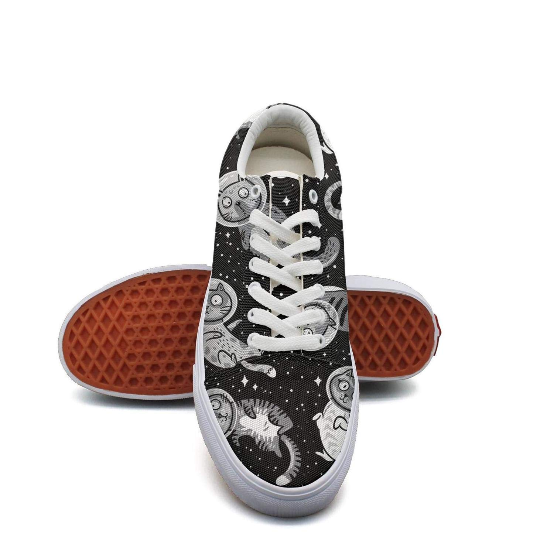 Ouxioaz Womens Skateboard Shoes Black Mini Space Astronaut Cat Old Skool Skate Shoes