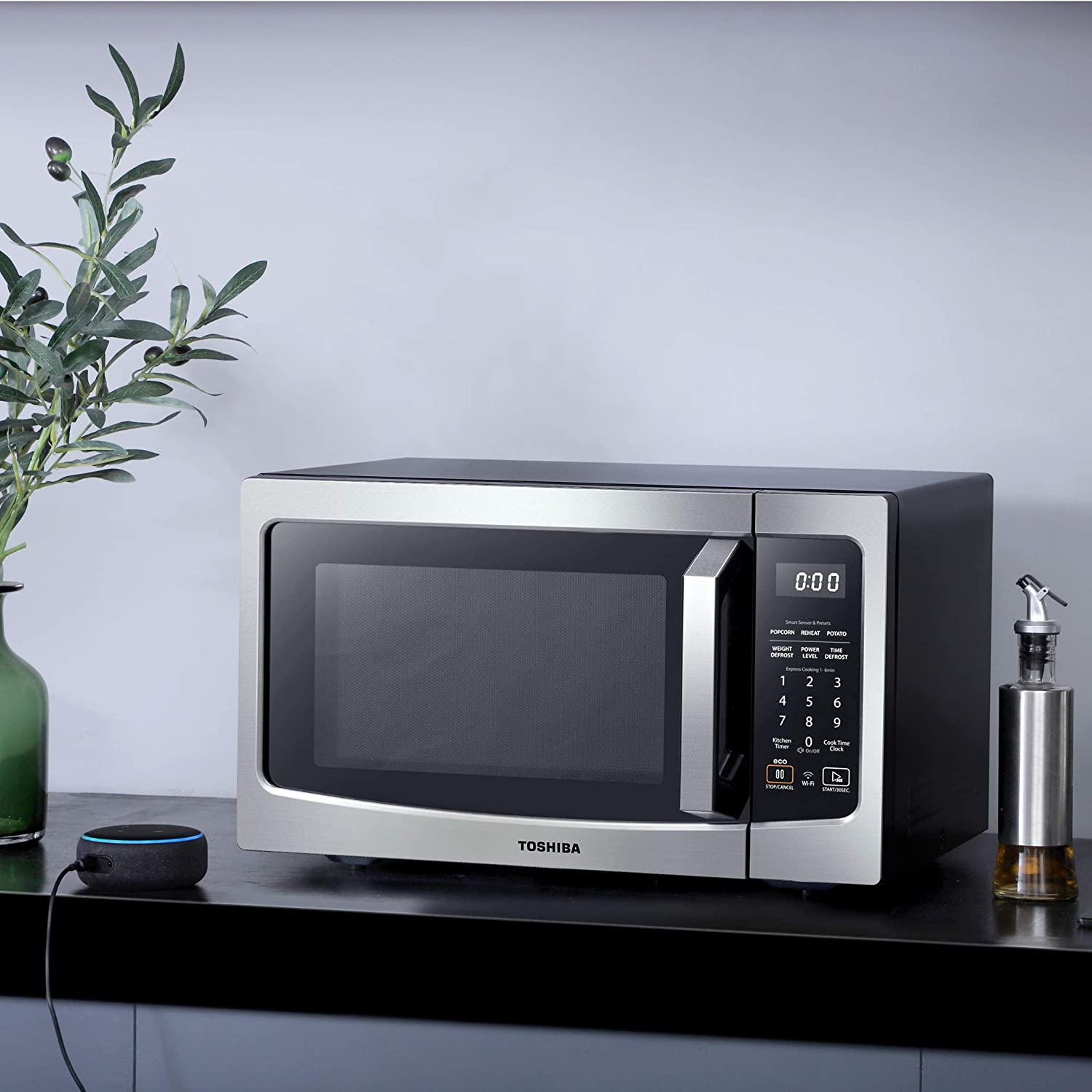 Toshiba ML-EM34P(SS) Smart Countertop Microwave Oven that Works with Alexa