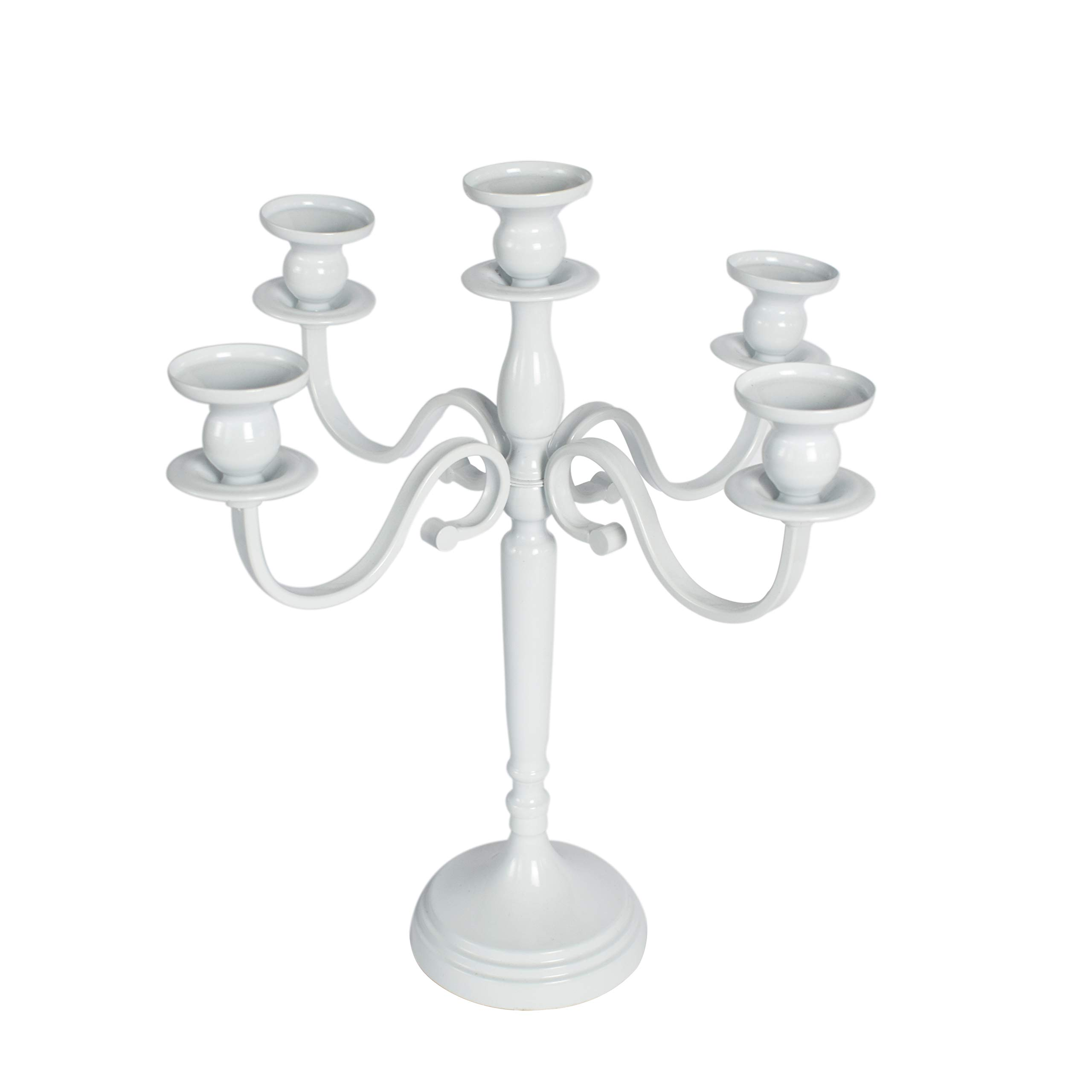 Butterflyevent 5-Candle Metal Candelabra Candlestick 16 inchTall Candle Holder Wedding Event Candelabra Candle Stand (White)