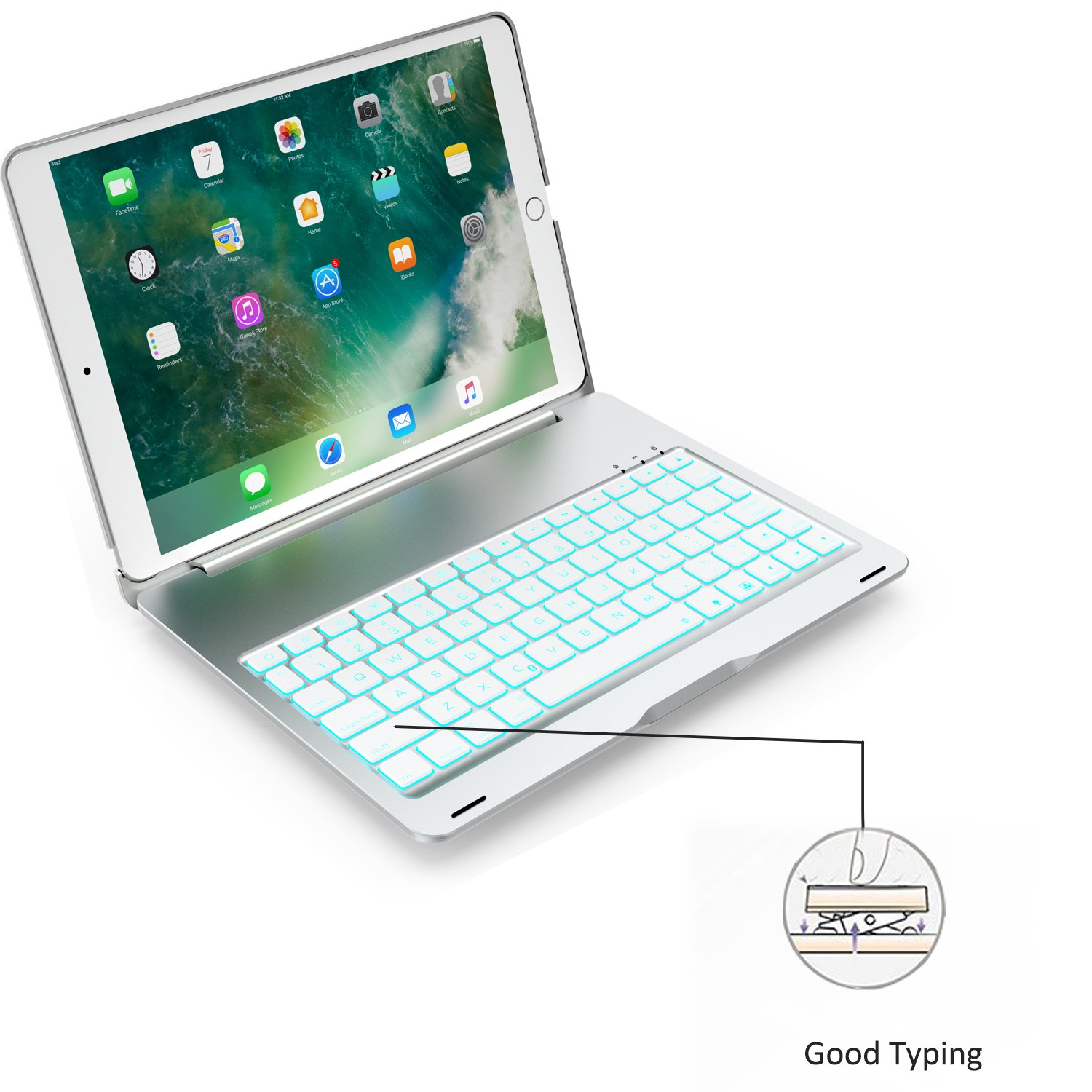 SZILBZ New iPad Pro 10.5 Keyboard Case.LED 7 Color Backlit.Ultra Silm Hard Shell Aluminum Alloy Folio Stand Cover for iPad pro 10.5 Inch(model(A1701/A1709) (Silver)