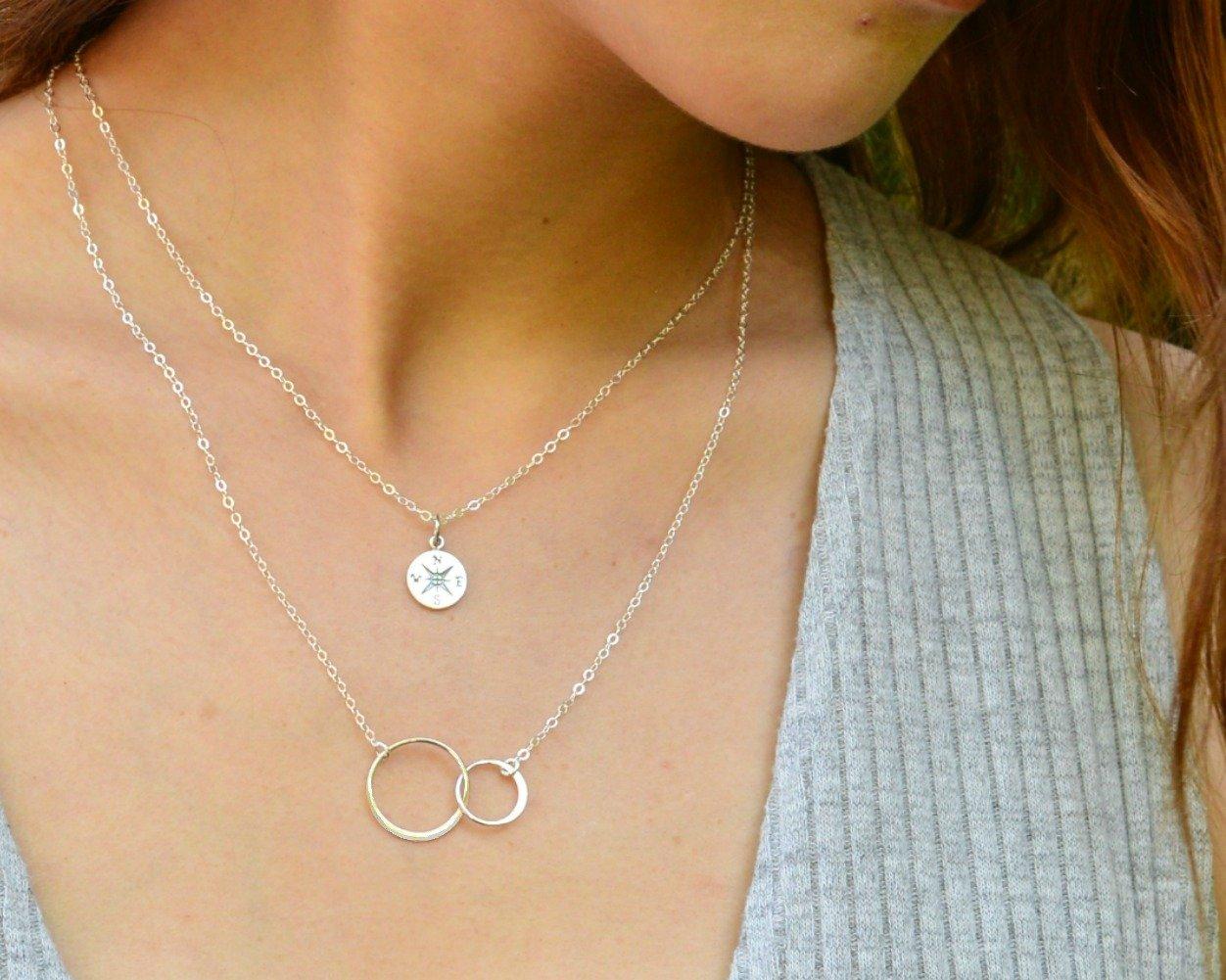 EFYTAL Godmother Gifts from Godchild Sterling Silver Interlocking Circle Necklace Proposal Gift for Girl Baptism by EFYTAL (Image #2)