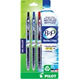 Pilot B2P - Bottle to Pen - Retractable Gel Roller Pens Made from Recycled Bottles, 3 Pen Pack, Fine Point, 1 Each Black, Blue, Red (31608)