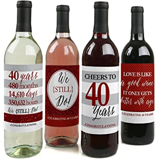 product image for We Still Do - 40th Wedding Anniversary Decorations for Women and Men - Wine Bottle Label Stickers - Set of 4