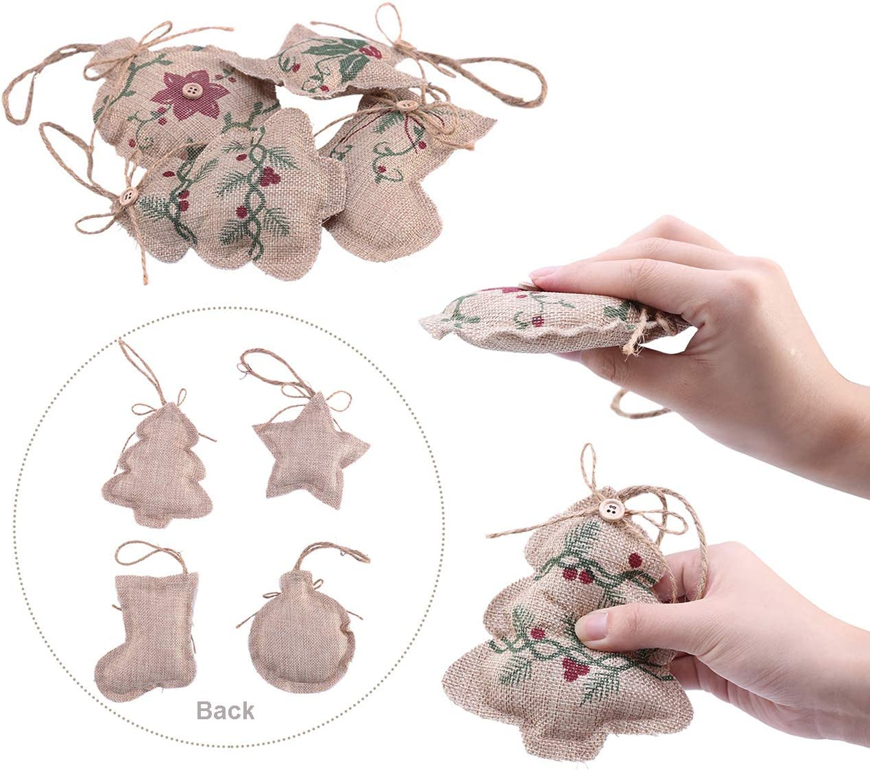 Burlap Hanging Ornaments for Christmas Tree Decorations Christmas Stocking Ball Tree Bell Pendant for Christmas Holiday Party Decor Fashionclubs Rustic Christmas Tree Ornaments Stocking Decorations