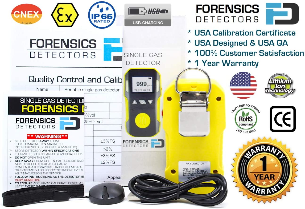 Li-ion Battery 1500mAh 0-100ppm H2S | Dust /& Explosion Proof Light /& Vibration Alarms Professional Hydrogen Sulfide H2S Detector Meter by FORENSICS Adjustable Sound