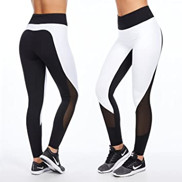 Sport-Leggings für Damen in schwarz-weiß | figurformende Trainings-Hose für  Fitness