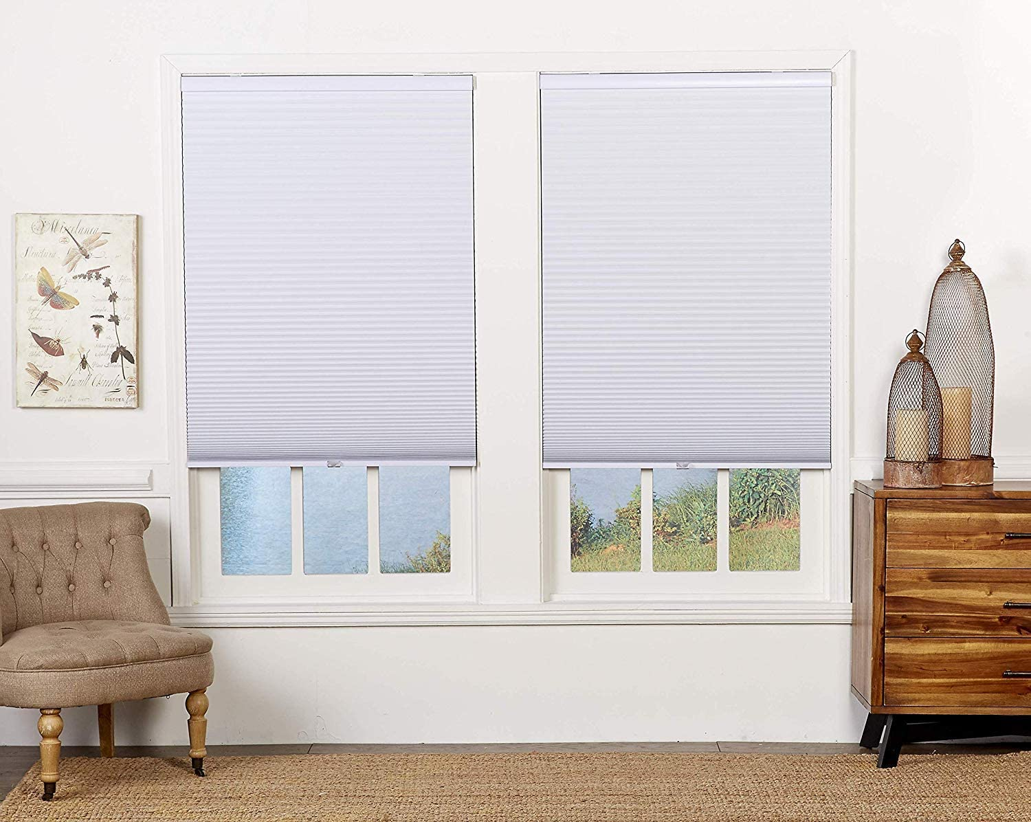 71W x 64H Inches White DEZ Furnishings QEWT710640 Cordless Blackout Cellular Shade