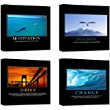 """Motivational Inspirational Self Positive Office Canvas Stretched Wood Framed Combine Modern Astract Art For Home Room Hall Wall Print Decor 4Pcs x 12x12"""" (30x30cm) (209-212)"""
