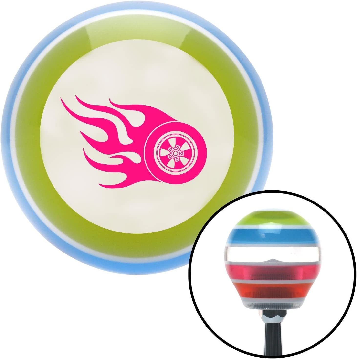 American Shifter 131965 Stripe Shift Knob with M16 x 1.5 Insert Pink Flaming Wheel