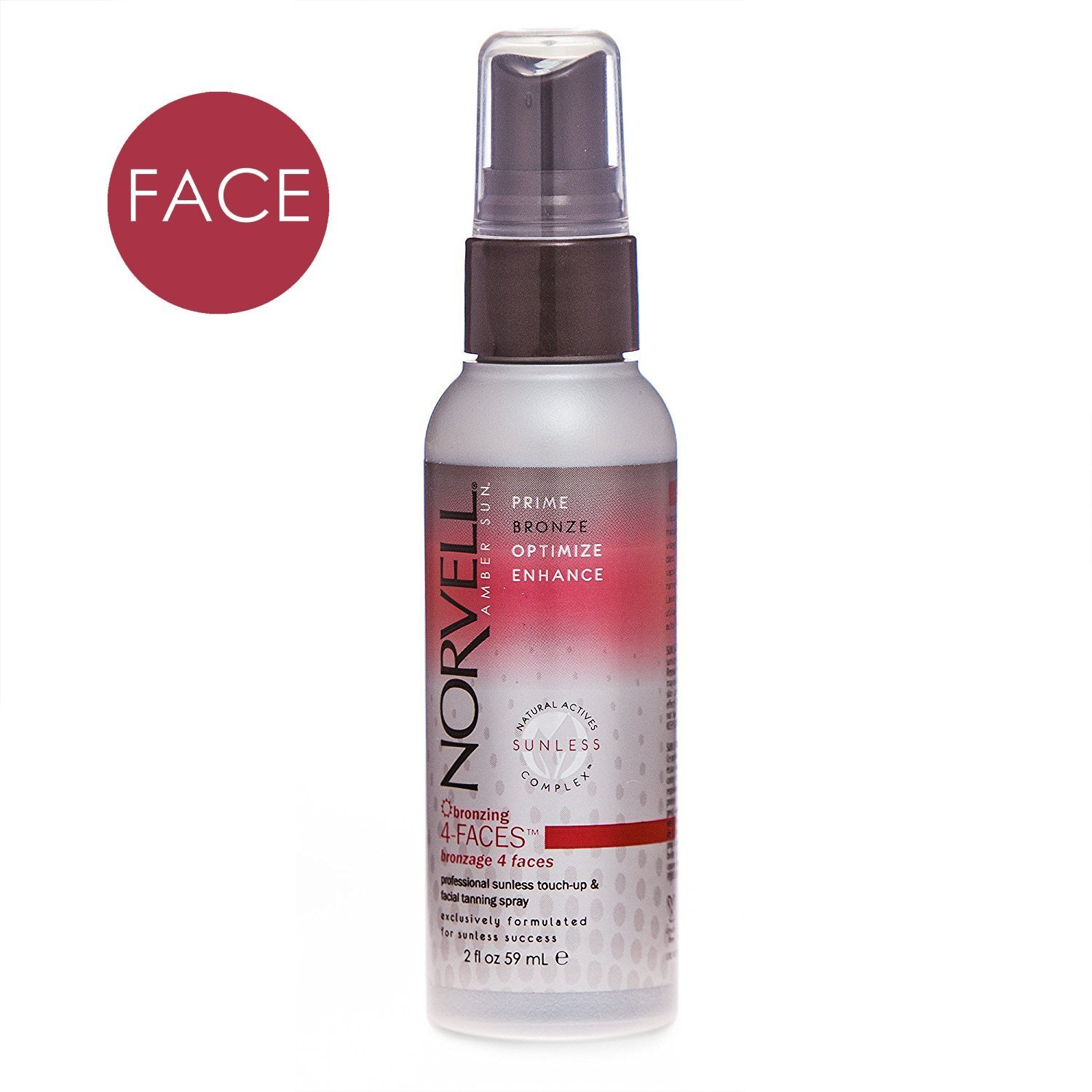 Norvell Bronzing 4-Faces Sunless Facial Self-Tanning & Touch-up Spray - Non Comedogenic Bronzer for Natural Sun-Kissed Glow, 2 fl.oz. Sunless Inc