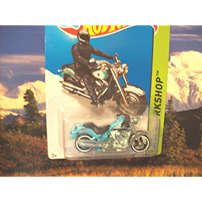 2014 Hot Wheels Hw Workshop Harley-Davidson Fat Boy (Light Blue): Toys & Games