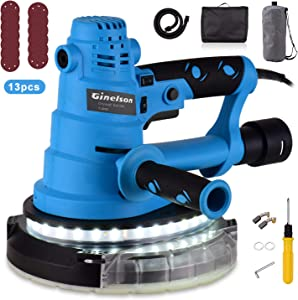 Ginelson Drywall Sander 750W, Detachable Base, No Dead End Grinding, Automatic Vacuum System & LED Light, 13 Sanding Discs, 6 Kinds Of Variable Speed 770-2150RPM, 15ft Cable Variable, with Carry Bag