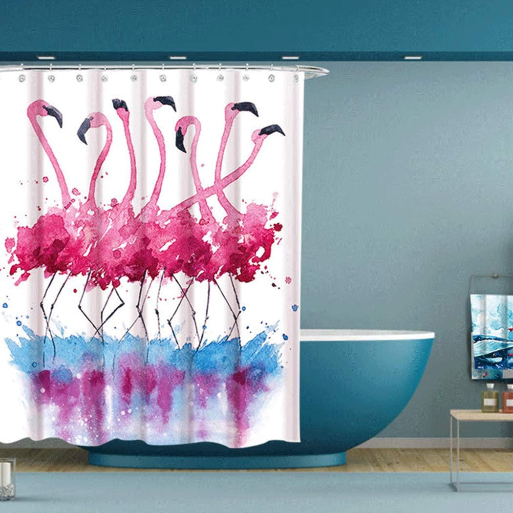 HONGLIAN Flamingo Digital Printing Shower Curtain Thickening Waterproof Mildew Polyester Shower Curtain Fashion Beautiful Washable 180200cm with Shower Curtain Ring by HONGLIAN (Image #6)