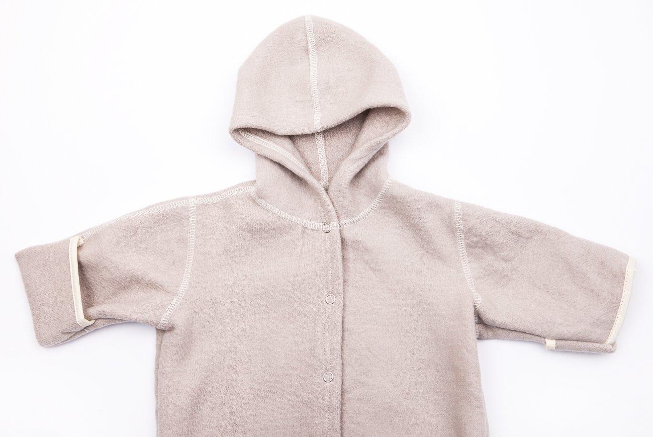 LANACare Organic Merino Wool Hooded Overall 6-9 mo Size 74 Natural White