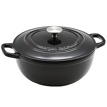 Argon Tableware 3.5L Round, Cast Iron Casserole Dish, Oven Safe - Black