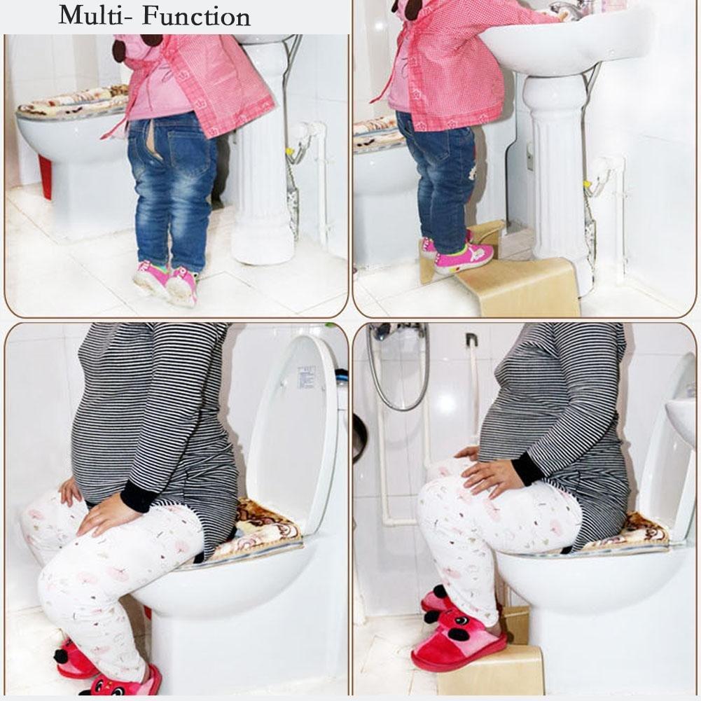 Femmes /âg/ées Liteness Tabouret de Toilette antid/érapant pour Salle de Bain si/ège de Toilette Repose-Pieds Multifonction en Bois pour Enfants Enceintes