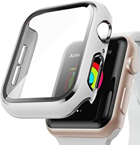 AISIBY Case Compatible with Apple Watch Series 3/2/1 38mm with Built-in Tempered Glass Screen Protector,Silver Edge White Bumper Full Coverage HD Clear Protective Film Cover for Women Men