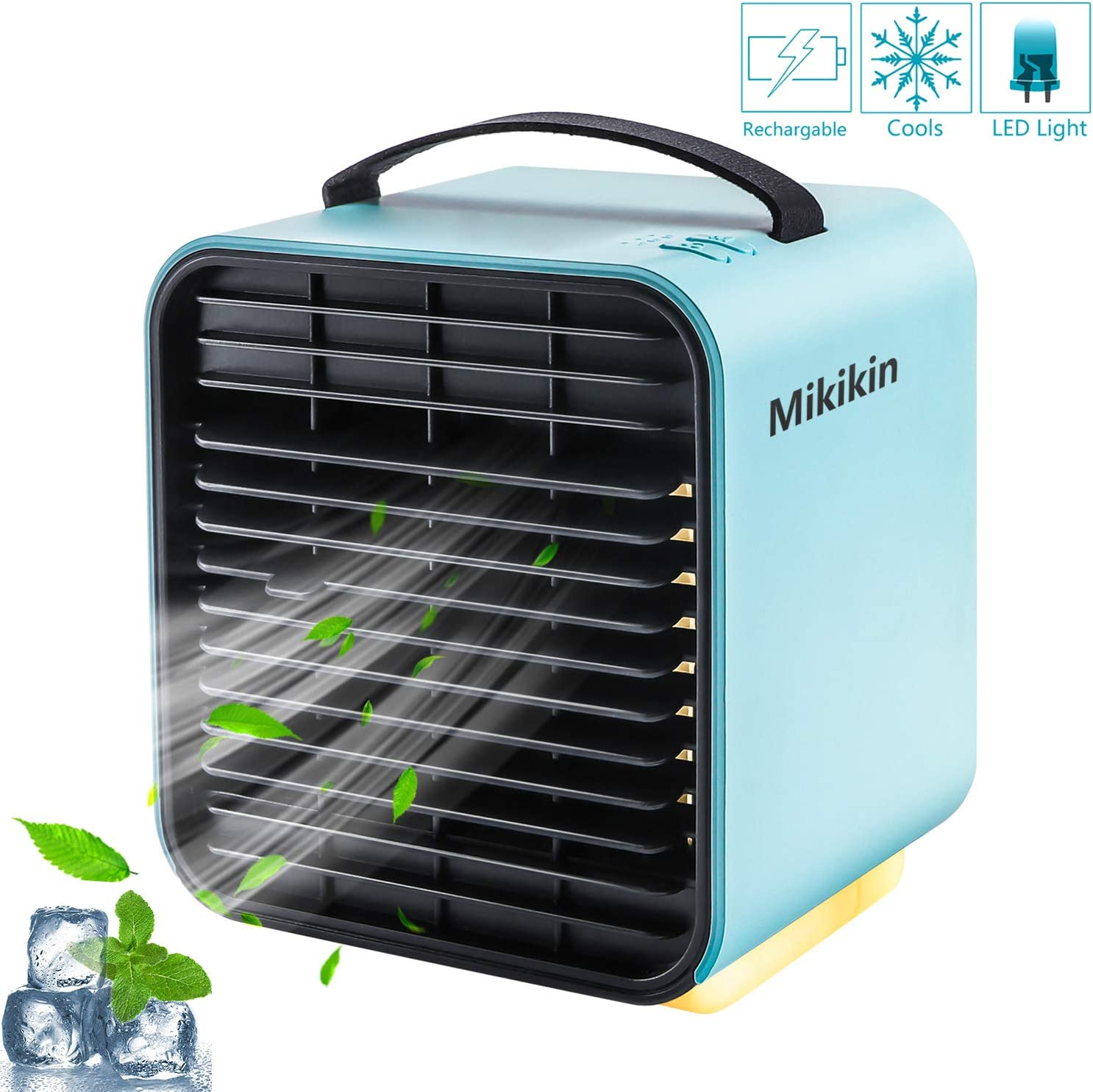 Mikikin Portable Air Conditioner Fan, Personal Space Evaporative Air Cooler Rechargeable USB Desk Fan with LED Light, 3 Speeds, Quiet Humidifier Misting Cooling Fan for Bedroom, Home, Office, Blue