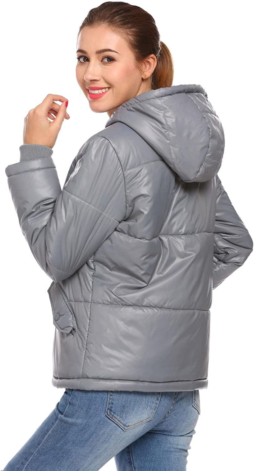 Dickin Womens Winter Warm Hooded Full Zip Casual Short Puffer Quilted Jacket