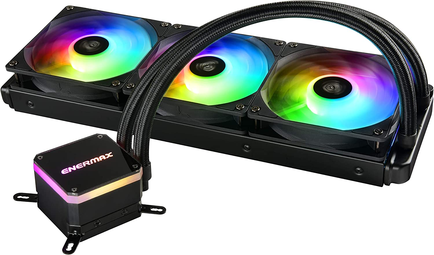 Enermax Liqmax III Addressable RGB 360 All-in-One CPU Liquid Cooler Dual Chamber Intel/AMD AM4 Support AIO ARGB LED Cooling 300W+ TDP; ELC-LMT360-ARGB
