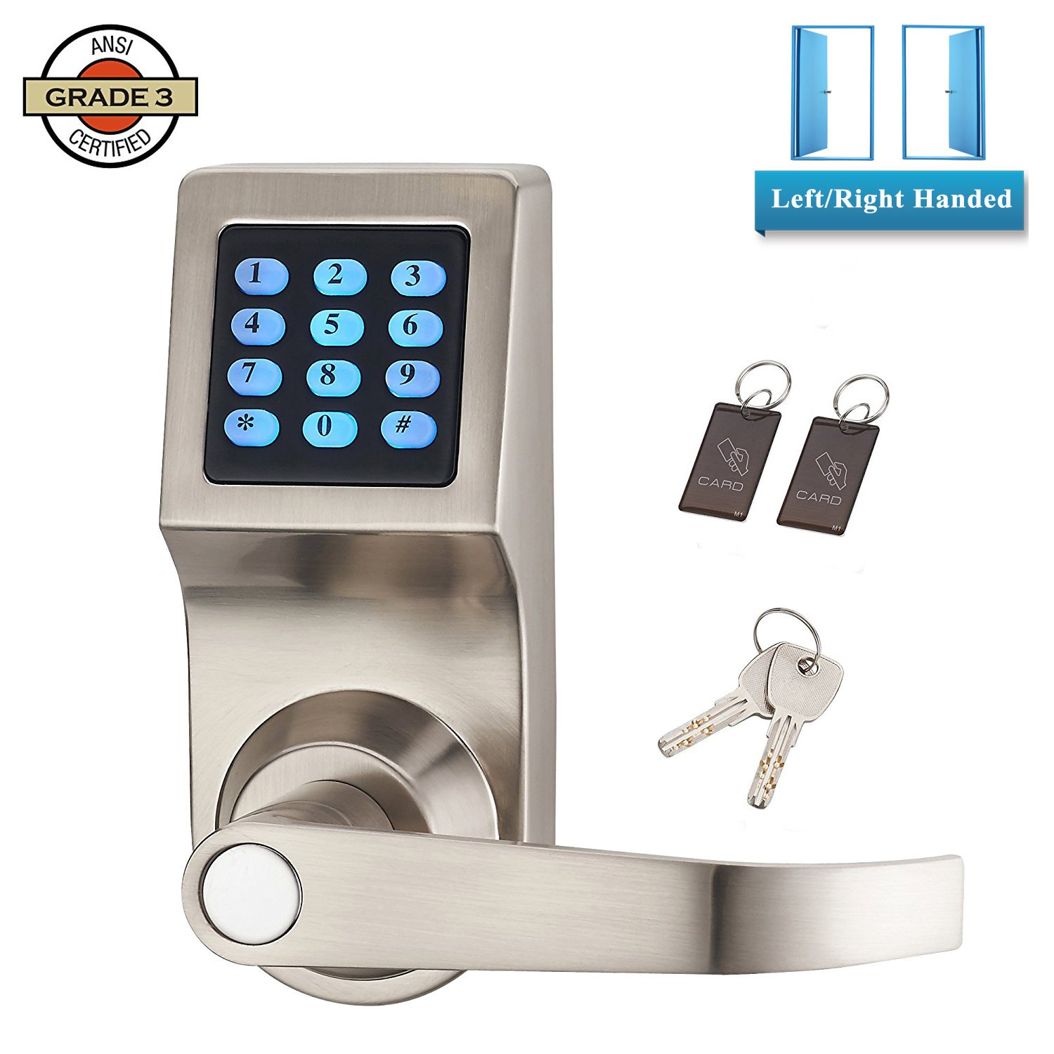 Digital Door Lever Keyless Entry Lock Electronic Entry Digital Code Keypad Password With Hidden Key for Emergency 6-10 Digits Reversible Lever Home Security Safety Lock Zinc Alloy Satin Nickel