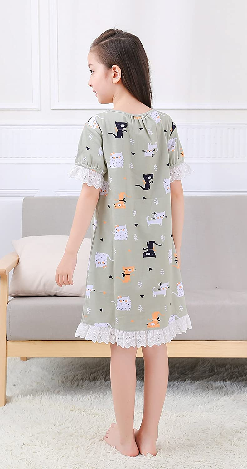deb73bd824 Zegoo Family Match Cotton Nightgown Girls Short Sleeves Nightdress  infant-and-toddler-nightgowns