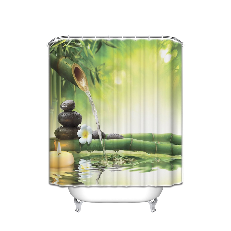 Vandarllin Zen Garden Theme Mildew Resistant Fabric Shower Curtain Set 72'' x 84'' Long Bathroom Decor,Spa Decor View for Magical Jasmine Flower Japanese Design Relaxation Bamboos Candles, Green Yellow