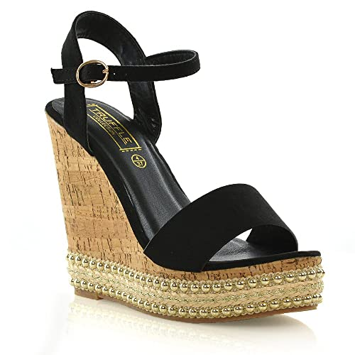 3b38ec3ad40 Truffle Collection Womens Wedge Platform Heel Espadrilles Sandals Ladies Stud  Strappy Shoes 3-8 (