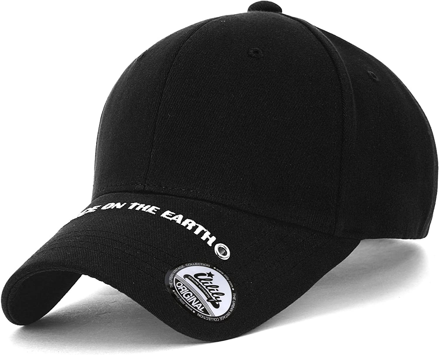 ililily Embroidered Patch Cotton Casual Baseball Cap Adjustable Trucker Hat
