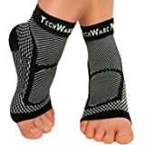 TechWare Pro Ankle Brace Compression Sleeve - Relieves Achilles Tendonitis, Joint Pain. Plantar Fasciitis Sock with Foot Arch