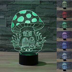 SUPERNIUDB Cute Mushroom 3D Night Light 7 Color Change LED Table Lamp Xmas Toy Gift