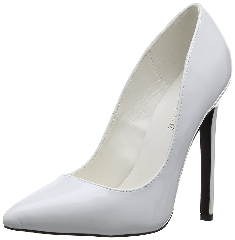 Pleaser EU-SEXY-20 - Zapatos de tacón de material sintético mujer 41 EU Blanco - Wei (White Pat)