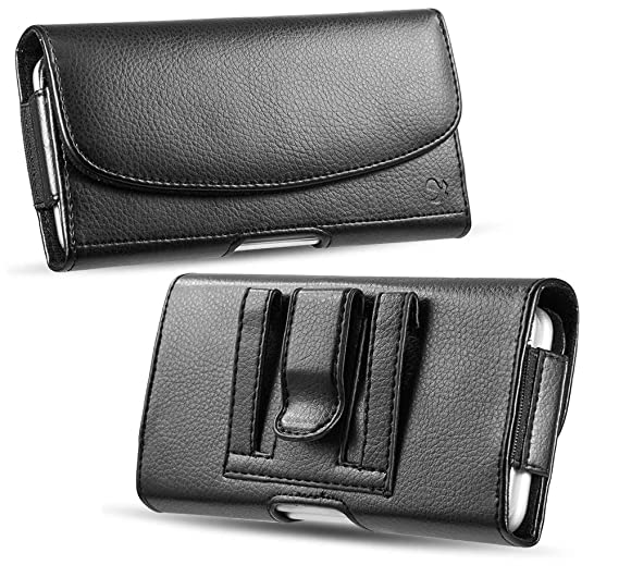 timeless design 5fdd5 eda92 Premium iPhone Cell Phone Belt Pouch, Compatible w/ [iPhone 6 6S 7 8 X XR]  Strong Magnet Holster iPhone 7 Leather Belt Case Fit with Otterbox Defender  ...