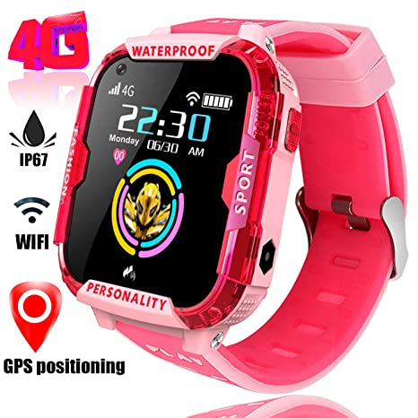 4G Smart Watch for Kids GPS Tracker - Boys Girls Smartwatch Phone with IP67 Waterproof SOS Digital Watch Wi-Fi Calling Voice Video Chat Camera ...